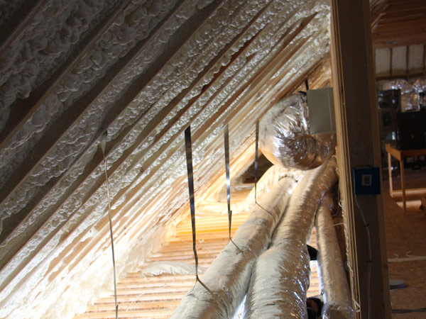 Attic sealed with insulation to help with the home's performance