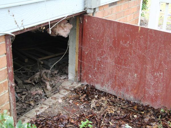 A dirty crawl space door open
