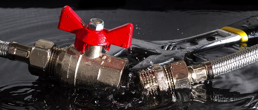 plumber fixing leaking valve