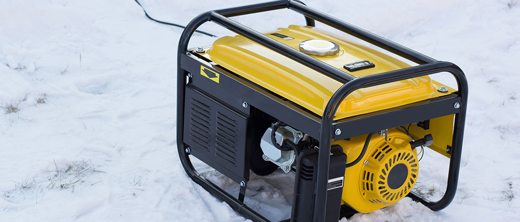 home generator running on a cold day sitting on snow