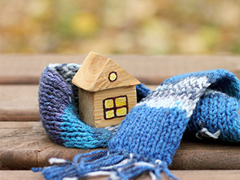 wooden house with a scarf image