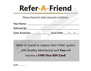 Bradley Mechanical refer a friend card