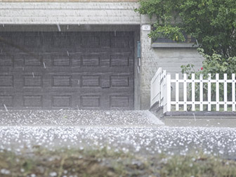 hail falling on home and hvac system