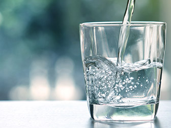 glass of water from filtration system